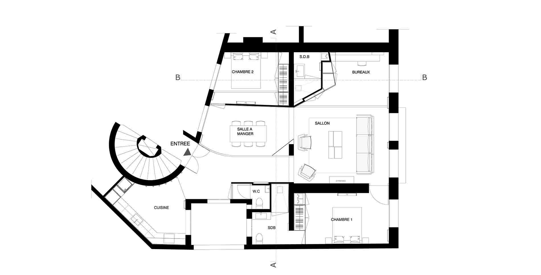 plan appartement haussmannien